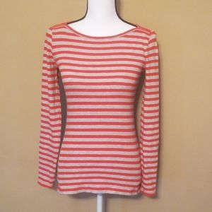 J. crew red and gray striped long sleeve top (xs)